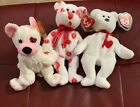 LOT Of 3 Vintage RETIRED TY BEANIE BABIES Cupid,Smooch &Valentino,