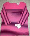Liz Claiborne Petite Top Bright Pink Navy Stripes New w tags