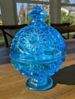 Vintage Blue Star Pattern Covered Compote Candy Dish 7.25