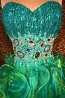Sea Green Sequin Evening Party Ball Prom Gown Formal Cocktail Long Dress S 4/6