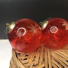 2 Vtg Cranberry Glass Cut To Clear Snowflake Ball Kugel Style Christmas Ornament