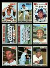 LOT OF 165 DIFFERENT 1970 TOPPS BASEBALL PARTIAL SET EX EXMINT GMCARDS