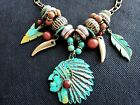 Native Indian Chief Charm Fashion Necklace