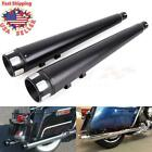Black Slip On Mufflers 4 Exhaust Pipe For Harley Touring Bagger Glide 1995 2016