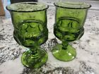 2 VTG INDIANA GLASS KINGS CROWN THUMBPRINT AVACADO GREEN 5 5/8