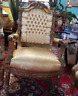 Sofa Suite Two Chairs Vintage Antique French Country Studio Reception Gold Set 3