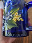 Hand painted Cobalt Blue Glass Mugs Signed GORGEOUS
