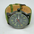 Mens Wenger Swiss Made Black Dial Date Watch 01.1541.104 Green Strap