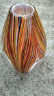Missioni for Target Hand Blown Glass Rainbow Stripe Clear Oval Vase Large 125