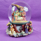 1997 Musical Nativity Crystal Christmas Snow Globe Heavy Weight Silent Night