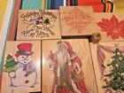 Christmas Rubber Stamp LOT Wood Mount Happen Hero All Night Uptown Stampede City