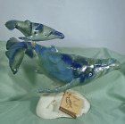 Hawaiian Humpback Whales Art Pottery Sculpture Mottled Deep Sea Ocean Palette