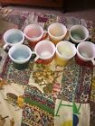 8 Vintage Rainbow Color RUBBER COATED Glitter Drinking Mugs Coffee