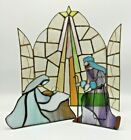 LARGE Stained Glass Nativity House of Lloyd 3 Piece Cathedral Window Christmas