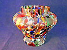 Vintage Czech Glass End of Day Vase Yellow Red Orange  White c1930 6 wide