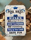 Pool Rules No Running Metal Sign Swimming Pool Sign Pool Decor 18 x 12 Sign
