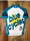Vintage Blue Cycles Club USA 1 4 Zip Coolmax Cycling Jersey Mens Medium