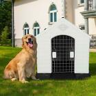 Dog House Pet Shelter Kennel Weatherproof Outdoor Indoor With Floor M L XXL
