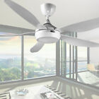 54 inch White Ceiling Fan 3 color LED Light Kit Remote Control 6 speed DC Motor