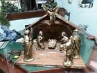 Vintage1950s Large Wood And Plaster Nativity Set With Lighted Manger Japan