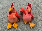 1996 Ty Beanie Baby Strut and Doodle the Rooster Pair with tags and errors