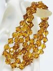Long Vintage Amber Color Bicone Glass Crystal Hand Knotted Strand Necklace 38
