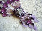 OOAK Very Special Purple Glass Heart and Flower Short Necklace