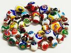 Vintage Hand Knotted Graduated Venetian Murano MILLEFIORI Glass Bead Necklace