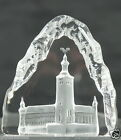 VINTAGE SWEDEN ART CLEAR FROSTED GLASS SCULPTURE PAPERWEIGHT SIGNED