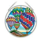 Hot Air Balloons Sun Catcher AMIA 65 Large Circle New Hand Painted Glass