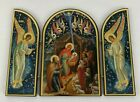 Russian Orthodox Lacquered Wood Triptych Icon Nativity Scene 10x7 Sofrino