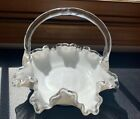 Fenton Silver Crest Basket Crimped Edge Milk Glass Bamboo Handle