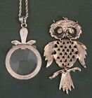 Vintage Crystal Dragonfly Magnifying Glass Necklace and Articulated Owl Pendant