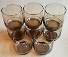 Vintage Smoked Old Fashioned Rocks Glasses 1970s Stackable Set of 8