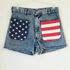 Vintage Navdungaree High Rise Denim Shorts Size 31 High Waisted American Flag