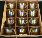 12 INDIANA GLASS PUNCH BOWL CUPS Gold Carnival Harvest Grape in Original BOX