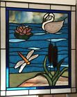 stained glass window Dragonfly And Swan