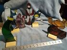 Lead Stained Glass Nativity 5 Pc Set Holy Family camel wise men cow w stands