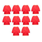10pcs Long Sleeve Red Kids Aprons Bibs Mealtime Smocks Clothes Protector