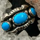 Sterling Silver Native American 3 Oval Turquoise Ring Size 6 For Women