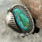 Silver Native American Chunky Turquoise  Stamped Leaf Ring Size 775 For Women
