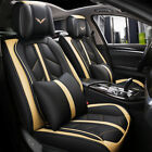 Luxury Leather Car Seat Covers 5 Seats Full Set Protector Universal Sport Style