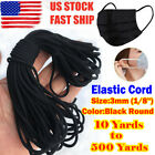 Black Elastic Band 3mm 1 8 Round For Sewing DIY Face Masks 10 yards to 500 Y