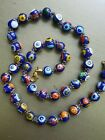 VINTAGE COBALT BLUE MILLEFIORE ITALIAN GLASS BEADS NECKLACE