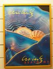 RARE 1995 DALE CHIHULY Seaforms Exhibition Poster SIGNED Yellow Paint Framed