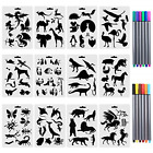 12 Pcs Drawing Animal Stencils Set Painting Templates 12 Fineliner Color Chil