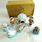 Christmas Nativity Set Alaska Igloo Animals Walrus Bear Seal Penguin People 7 pc