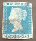 GB QV 2d Blue SG14 Plate 4 Two Pence SC Used 1841 Stamp Very nearly 4 Margins