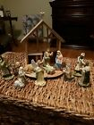 The Nativity Set Hand painted Cold Cast Porcelain Pewter Wood 1993
