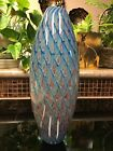 Beautiful Hand Blown Glass Vase Reminiscent of Peacock Feathers 12 tall
